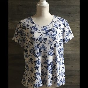 Blue Floral Croft and Barrow classic Tee